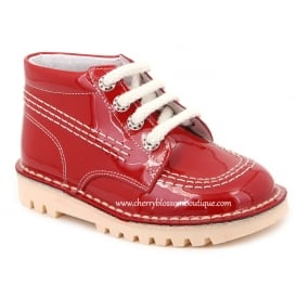 Boys Lace Up Red Patent Leather Boot