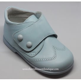 Boys Pale Blue Leather Boot with Button Detail