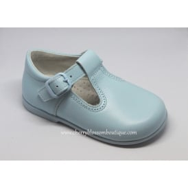 Boys Pale Blue Leather T-Bar Shoe