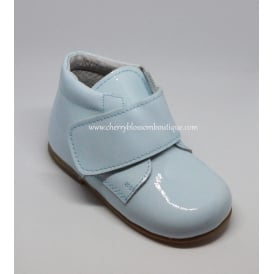Boys Pale Blue Patent Leather Boot