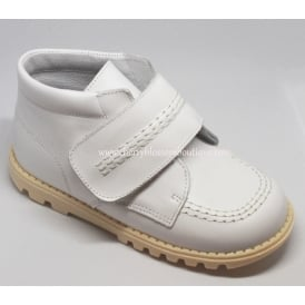 Boys White Leather Boots