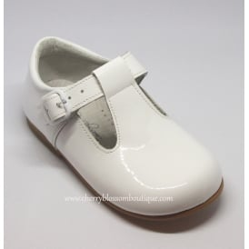 Boys White Patent Leather T-Bar Shoe
