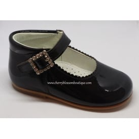 Girls Black Patent T-Bar Shoe with Diamante Buckle