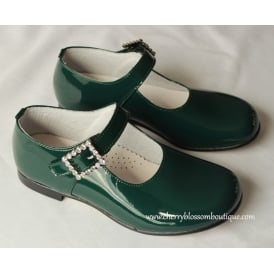 Girls Bottle Green Patent Shoe with Velcro Diamante Fastening