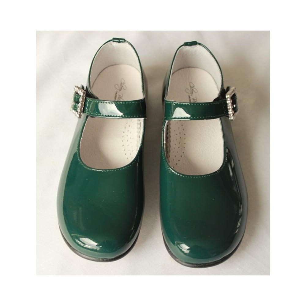 Leon-Girls-Bottle-Green-Patent-Shoe