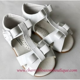 Girls Bow Sandal in White Patent