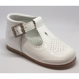 Girls Cut Out Detail T-Bar Shoe with Diamante Buckle in White Patent