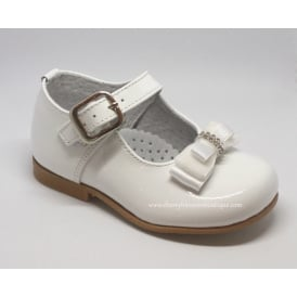 Girls Dolly Shoe with Diamante Bow in White Patent