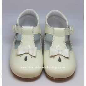 Girls Ivory Patent T-Bar Shoe with Bow
