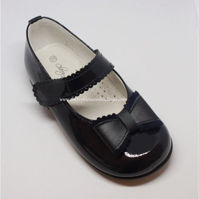 Leon Shoes Girls Navy Patent Dolly Shoe with Bow