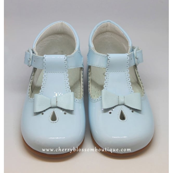 Leon Shoes Girls Pale Blue Patent T-Bar Shoe with Bow