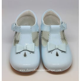 Girls Pale Blue Patent T-Bar Shoe with Bow