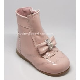 Girls Patent Boot with Diamante Bow in Pink