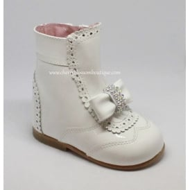 Girls Patent Boot with Diamante Bow in White