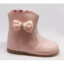 Girls Patent Boot with Diamante Side Bow in Pink