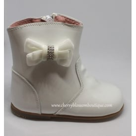 Girls Patent Boot with Diamante Side Bow in White