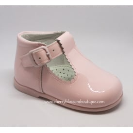 Girls Pink Patent T-Bar Shoe