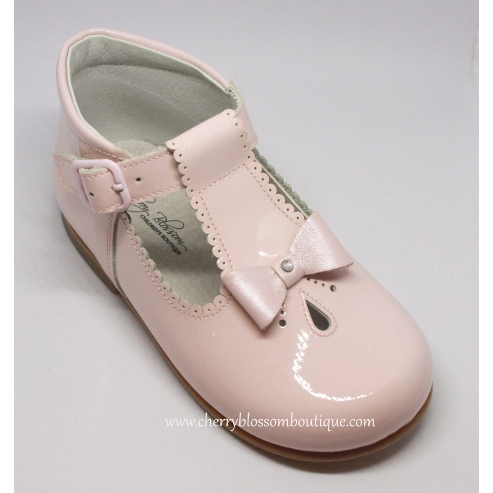 27991d16e7ab Girls Pink Patent T-Bar Shoe with Bow