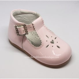 Girls Pink Patent T-Bar Shoe with Diamante Buckle