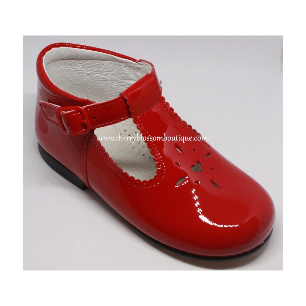 "DOLL SHOES 4/"" RED PATENT WITH SIDE BOW AND BUCKLES CUTE ON TODDLER  DOLL"