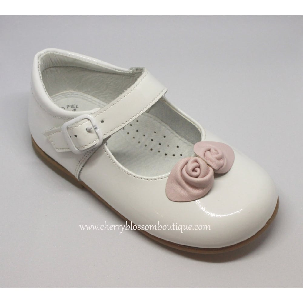 Leon girls white patent dolly shoe with pink flowers girls white patent dolly shoe with pink flowers mightylinksfo
