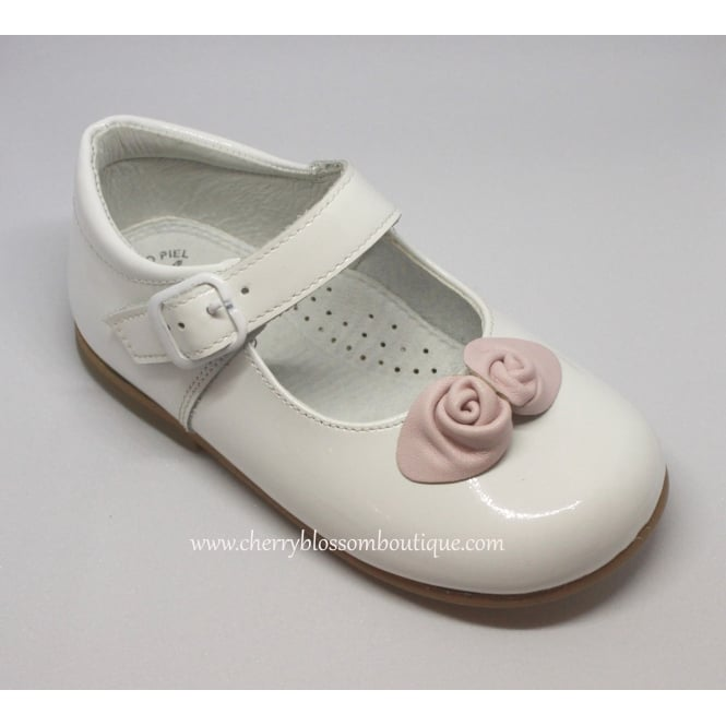 Leon Shoes Girls White Patent Dolly Shoe with Pink Flowers