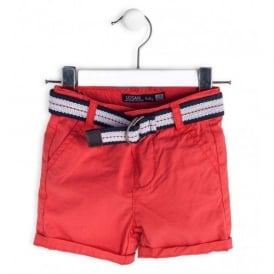 Baby Boy Red Shorts with Belt