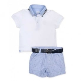 Baby Boy White Polo and Blue Short Set