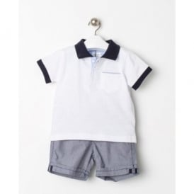 Baby Boy White Polo and Navy Short Set