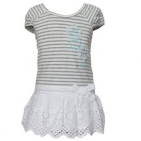 Baby Girl White and Grey Cotton Dress
