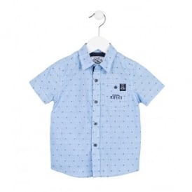 Boys Smart Blue Short Sleeved Shirt