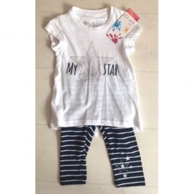 Girls T-shirt and Navy Stripe Legging Set