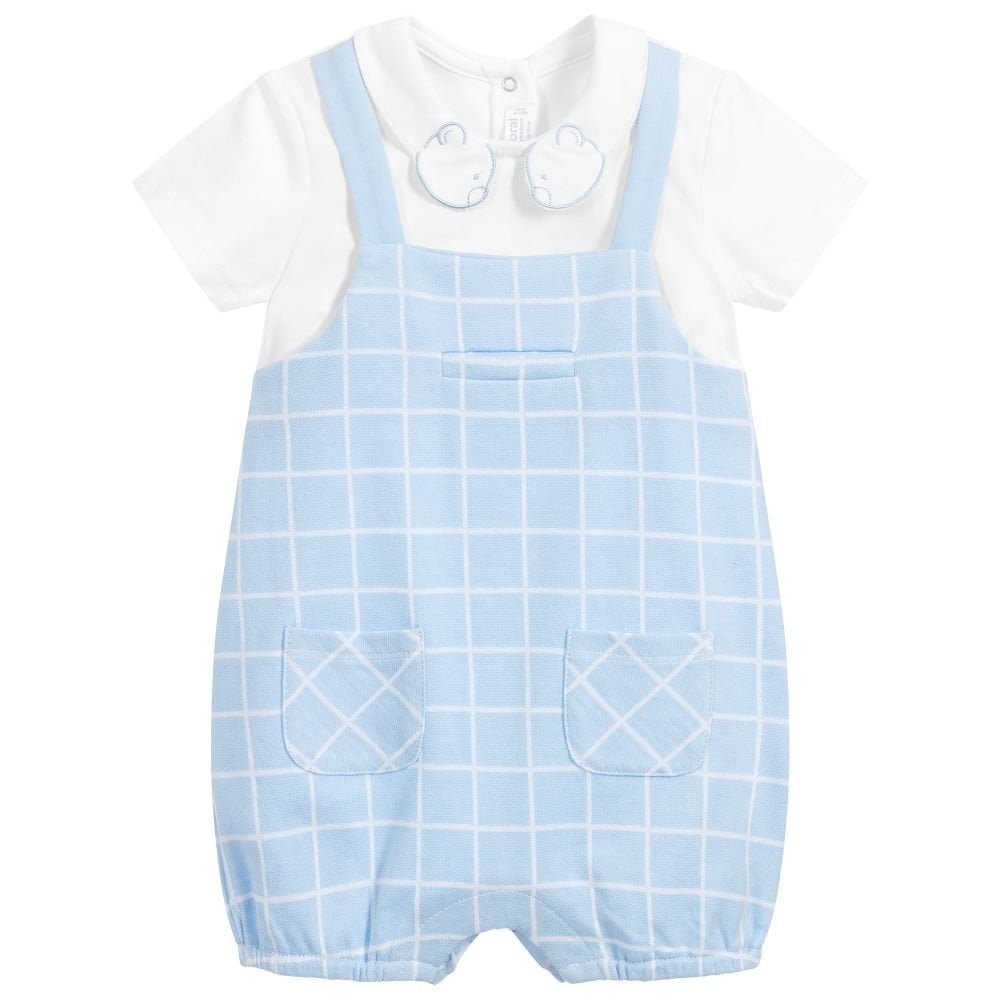 Mintini Baby Boy Romper Two Piece White//Sky Sizes 1,3,6 Or 9 Months Available