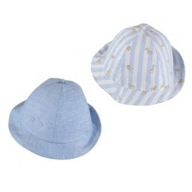 31421cbfb6d Baby Boy Sky Blue Reversible Sun Hat NEW SEASON