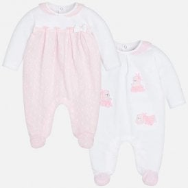d07ce5e15dc Baby Girl 2 Pack Cotton Babygrows NEW SEASON
