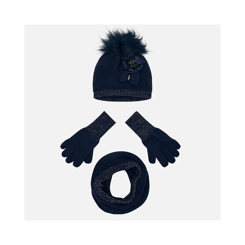 957332881 Girls Hat, Snood and Gloves Set in Navy