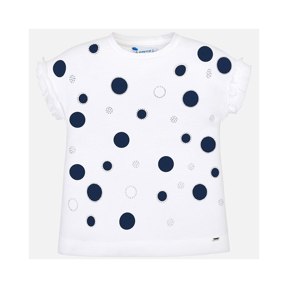1adc6ebe0 Mayoral-Girls-Navy-Polka-Dot-Short-Sleeve-T-Shirt