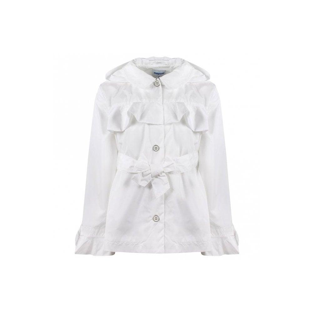 e9f891625 Mayoral Girls White Ruffle Windbreaker Jacket