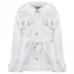 741c83e1f5e Girls White Ruffle Windbreaker Jacket