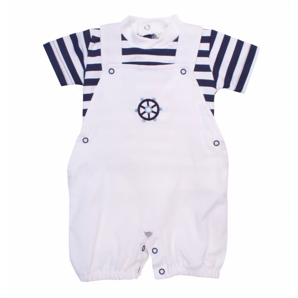 429bc92d8305 Mintini-Baby-Boy-White-and-Navy-Dungaree-Romper