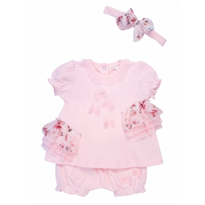 Mintini Baby Girl Floral Lace Top and Bloomer Shorts