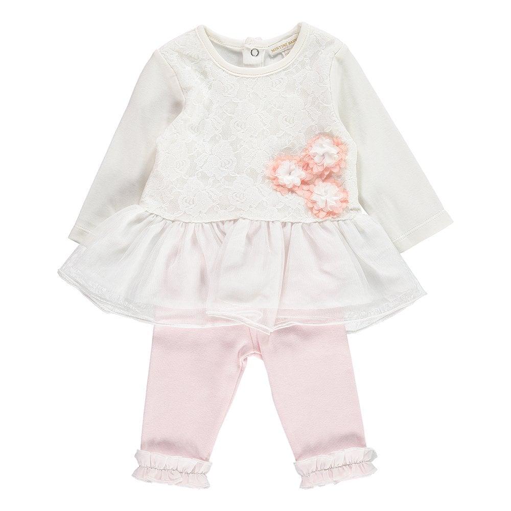 eb9988b16 Mintini-Baby-Girl-Ivory-Dress-and-Pink-Legging-Set