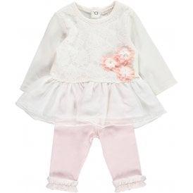 0fb82bfb9 Baby Girl Ivory Dress and Pink Legging Set