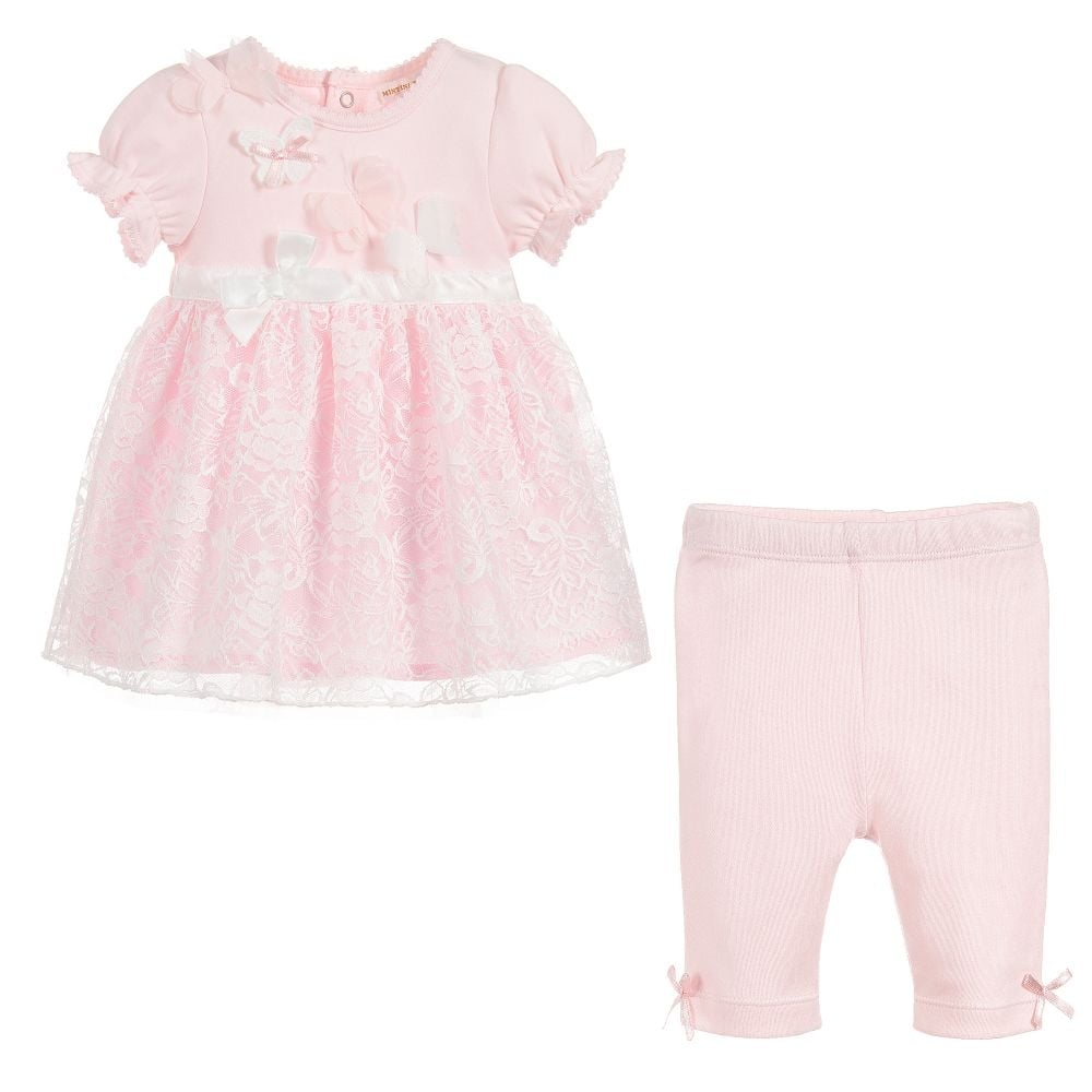 ca2d3f44b Baby Girl Pale Pink Dress and Legging Set