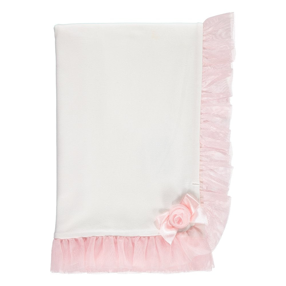 d0fb32a3b4224 Mintini-Baby-Girls-Ivory-and-Pink-Cotton-Blanket