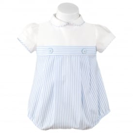 Baby Boys Blue and White Stripe Romper