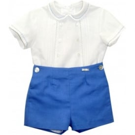 Baby Boys Blue Romper Short Set