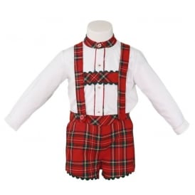 Baby Boys Tartan Dungaree and Shirt