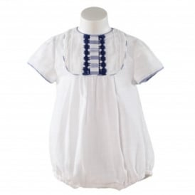 Baby Boys White with Navy Detail Romper
