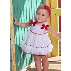fab6615b91b4 Baby Girl White and Red Bow Dress